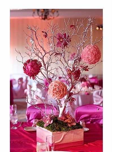 white diy centerpieces tree and large flower bridal hot list